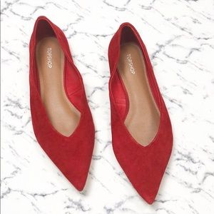 Top Shop red pointed toe suede flats